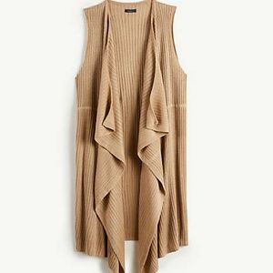 ANN TAYLOR Tan Long Ribbed Waterfall Sweater Vest